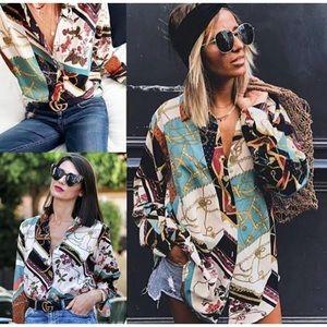 Zara blogger fav patchwork chain print shirt top